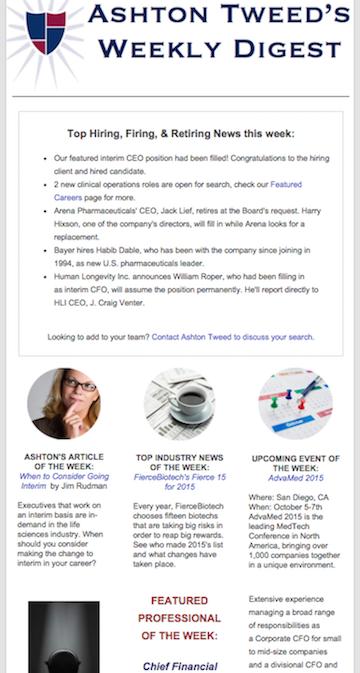 Ashton Tweed's Weekly Digest Example
